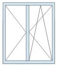 Двустворчатый оконный блок: одна распашная створка и одна поворотно-откидная по цене 9500 руб/кв.м