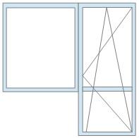 Поворотно-откидная балконная дверь с глухим деревянным окном-«аквариумом»: окно – 6000 руб/кв.м, дверь – 9500 руб/кв.м