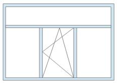 2. Трёхстворчатый оконный блок с фрамугой (средняя створка поворотно-откидная) по цене 9000 руб/кв.м